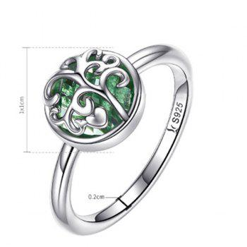 Sterling Silver Tree of Life Heart Ring - SILVER 7