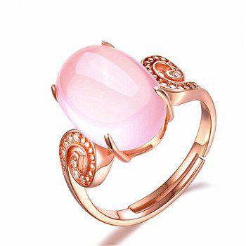 Faux Gem Crystal Oval Cuff Ring - ROSE GOLD ROSE GOLD