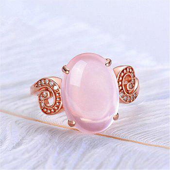 Faux Gem Crystal Oval Cuff Ring - ROSE GOLD
