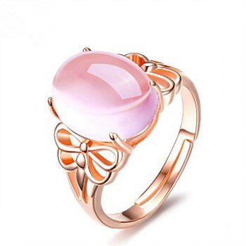 Faux Crystal Gem Oval Dragonfly Ring - ROSE GOLD ROSE GOLD