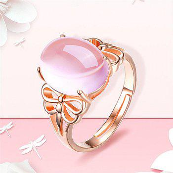 Faux Crystal Gem Oval Dragonfly Ring - ROSE GOLD