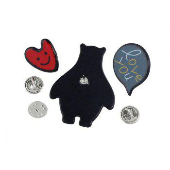 Bear Heart Love You Brooch Set - café