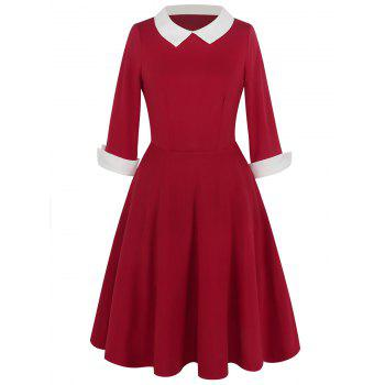 Vintage Peter Pan Collar Two Tone Dress