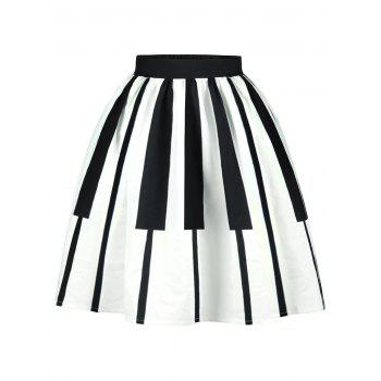High Waist Two Tone Striped Skirt