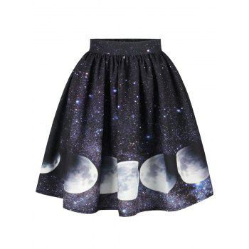 Starry Sky and Moon Print Galaxy Skirt