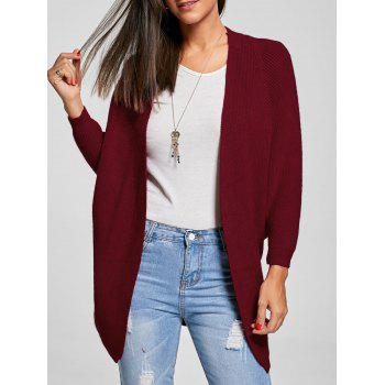 Batwing Sleeve Open Front Knit Cardigan