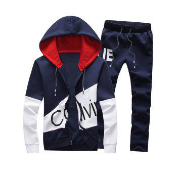 Color Block Graphic Print Hoodie and Pants Twinset