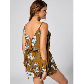 Floral Slit Cold Shoulder Long Sleeve Romper - YELLOW S