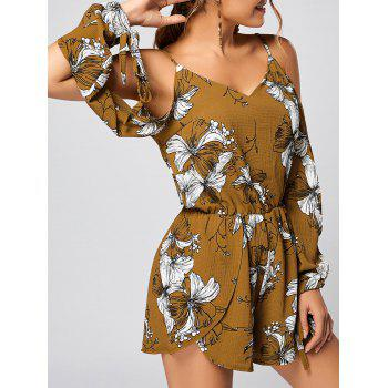 Floral Slit Cold Shoulder Long Sleeve Romper - YELLOW L