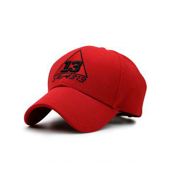 Numbers Trangle Embellished Baseball Cap - RED RED