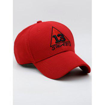 Numbers Trangle Embellished Baseball Cap - RED