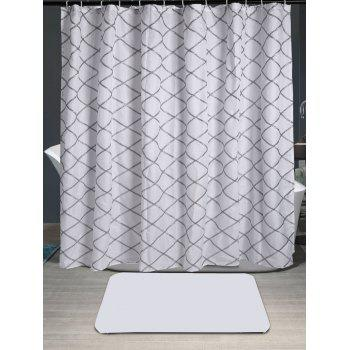 Grid Laciness Waterproof Shower Curtain
