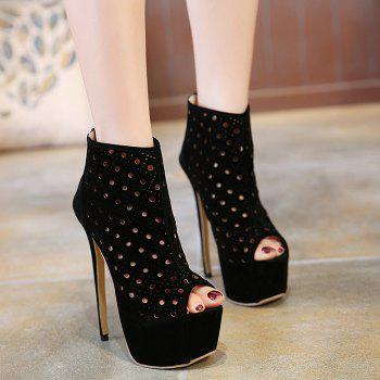 Hollow Out Zipper Peep Toe Shoes