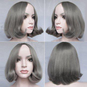 Short Center Parting Tail Adduction Straight Bob Synthetic Wig