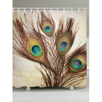Peacock Feather Waterproof Fabric Shower Curtain