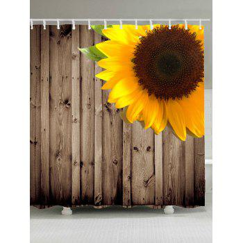 Waterproof Sunflower Wood Grain Shower Curtain