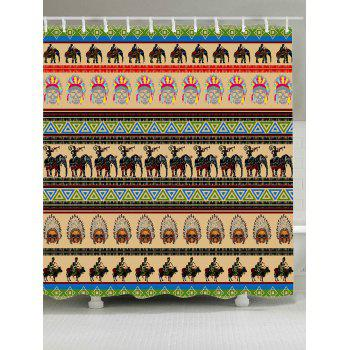 Elephant African People Print Shower Curtain