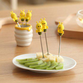 6PCS Stainless Steel Cartoon Bee Forks - YELLOW YELLOW