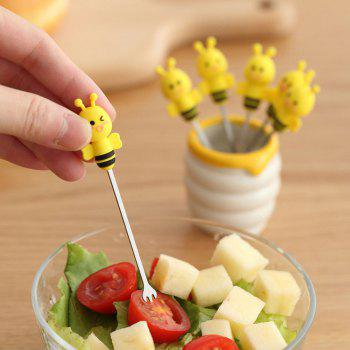 6PCS Stainless Steel Cartoon Bee Forks -  YELLOW
