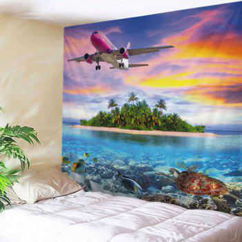 Wall Hanging Art Airplane Island Ocean Print Tapestry