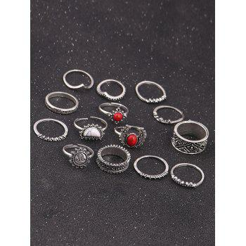 Vintage Sun Moon Round Ring Set -  SILVER