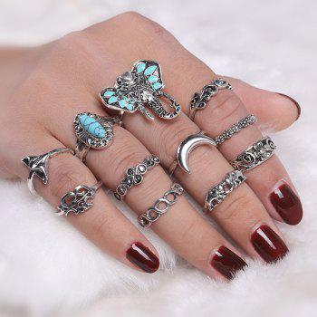 Bohemian Flower Moon Elephant Ring Set