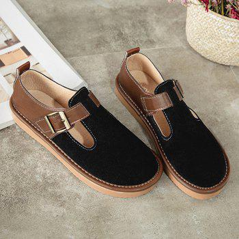 Suede Buckle Strap Flat Shoes