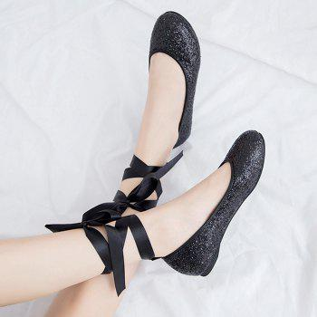 Sequined Tie Up Flat Shoes - Noir 37