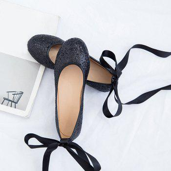 Sequined Tie Up Flat Shoes - Noir 39
