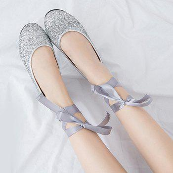 Sequined Tie Up Flat Shoes - Argent 39