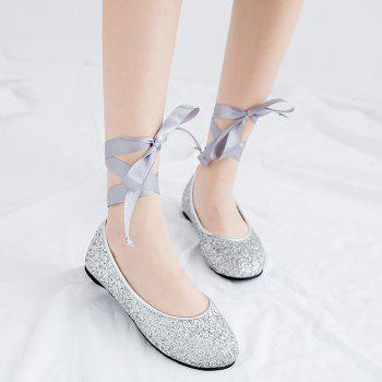Sequined Tie Up Flat Shoes