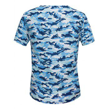 T-shirt encolure embellie Camo - Bleu 4XL