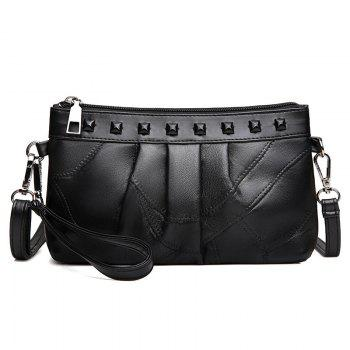Rivet Ruched Faux Leather Crossbody Bag