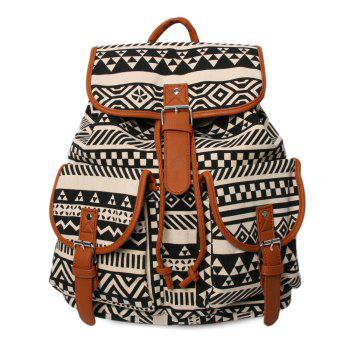 Ethnic Print Canvas Buckles Backpack