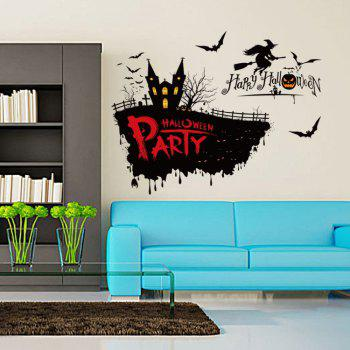 Halloween Party Decor Removable Wall Sticker - BLACK BLACK