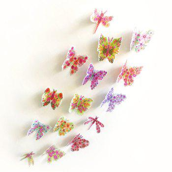 Pastoral Butterfly Bedroom 3D Wall Sticker Set - COLORMIX PATTERN B