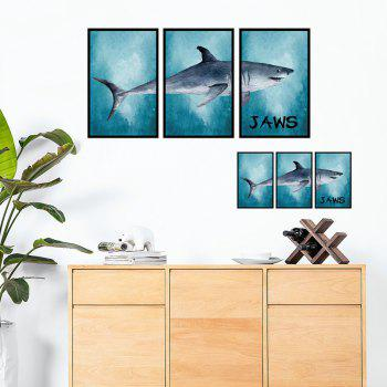 Splicing Shark Photo Frame Wall Art Sticker - LAKE BLUE LAKE BLUE