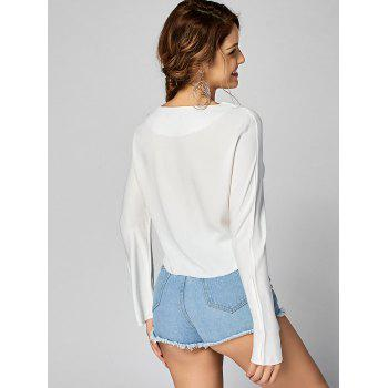 Fringed Edge Long Sleeve Crop Top - S S