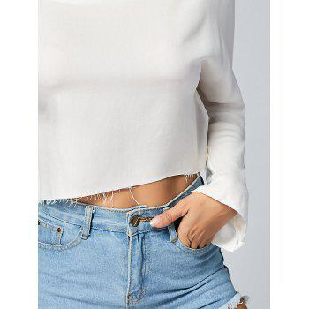Fringed Edge Long Sleeve Crop Top - WHITE WHITE