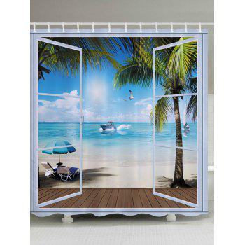 Belcony Beach Pattern Fabric Bathroom Shower Curtain