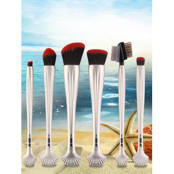 6Pcs Plated Shell Facial Shape Makeup Brushes Kit