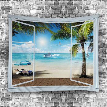 Wall Hanging Art Belcony Beach Print Tapestry - LAKE BLUE W79 INCH * L71 INCH
