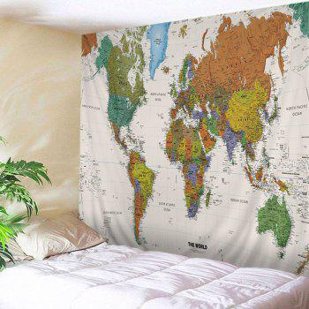 Wall Hanging Art World Map Print Tapestry - COLORMIX W79 INCH * L71 INCH