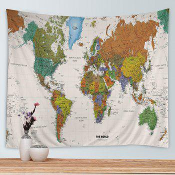 Wall Hanging Art World Map Print Tapestry - COLORMIX W91 INCH * L71 INCH