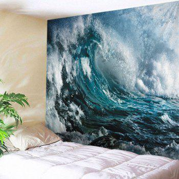 Ocean Wave Print Tapestry Wall Hanging Art Decor - OCEAN BLUE W79 INCH * L71 INCH