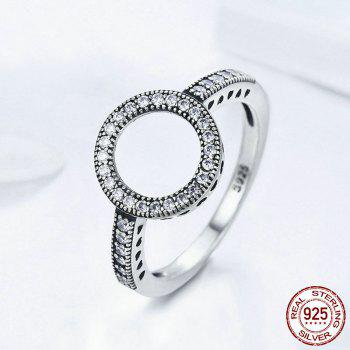 Hollow Out Heart and Round Rhinestones Ring - SILVER SILVER