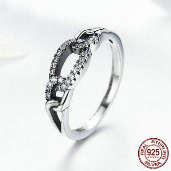 Rhinestone Sterling Silver Circle Ring - SILVER SILVER