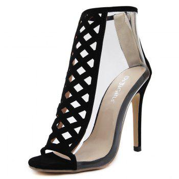Coutout Front Clear Side High Heel Sandals - BLACK BLACK
