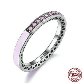 Rhinestone Heart Sterling Silver Circle Ring - PINK PINK