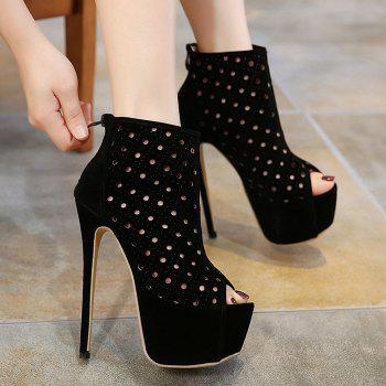 Hollow Out Zipper Peep Toe Shoes - BLACK BLACK